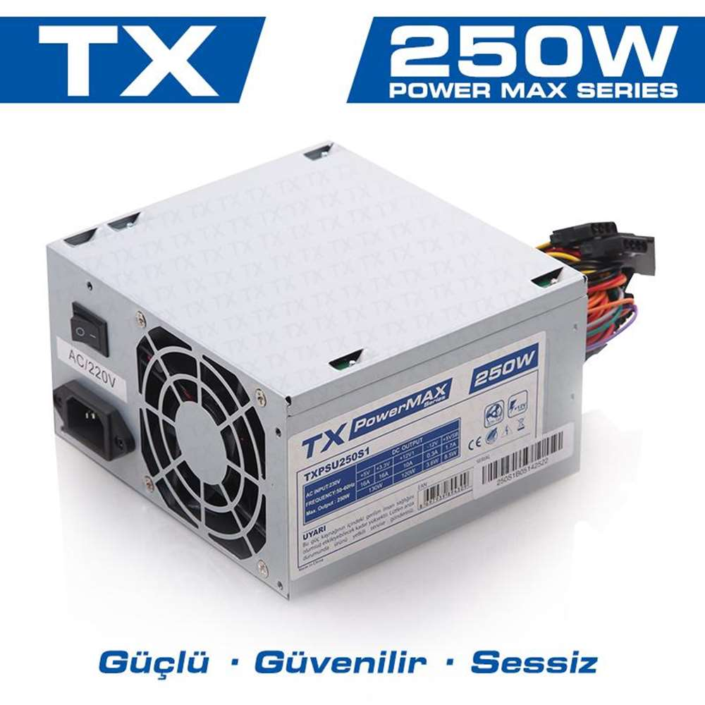 TX POWERMAX 250W 8CM FAN POWER SUPPLY TXPSU250S1