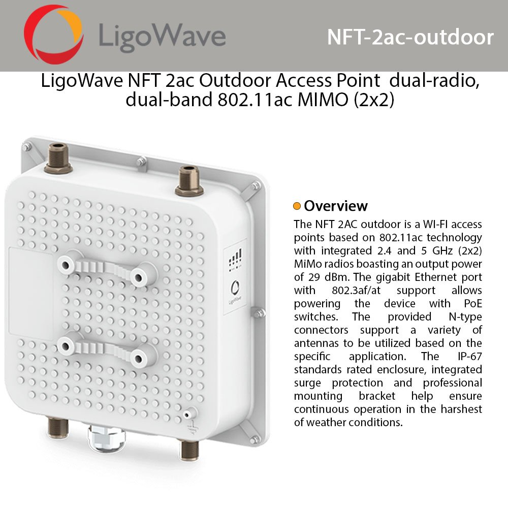 LIGOWAVE NFT 2AC OUTDOOR 300+867MBPS 1PORT POE 2.4GHz/5GHz POE ADAPTORLU OUTDOOR 360 DERECE DAIRESEL ACCESS POINT