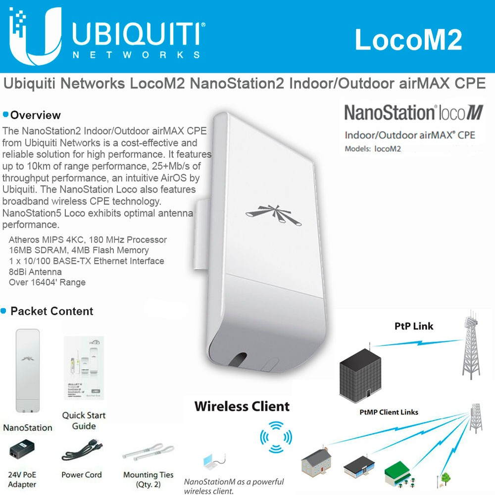 UBNT NANOSTATION LOCO M2 150MBPS 2x2MIMO 8DBI 2.4GHz OUTDOOR ACCESS POINT