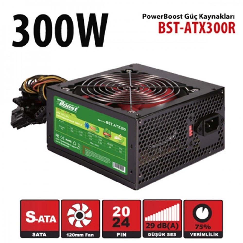 POWER BOOST BST-ATX300R 300W 12cm FANLI POWER SUPPLY KUTUSUZ