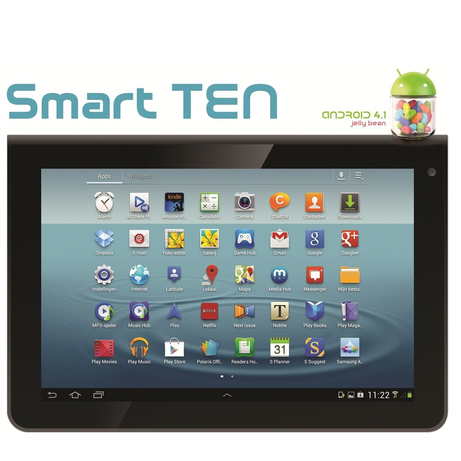 "EZCOOL SMART TEN DUAL CORE 1 GB DDR3 16GB WI-FI 10.1"" HD 1280X800 IPS PANEL CIFT KAMERA SIYAH ANDROID 4.1 TABLET"