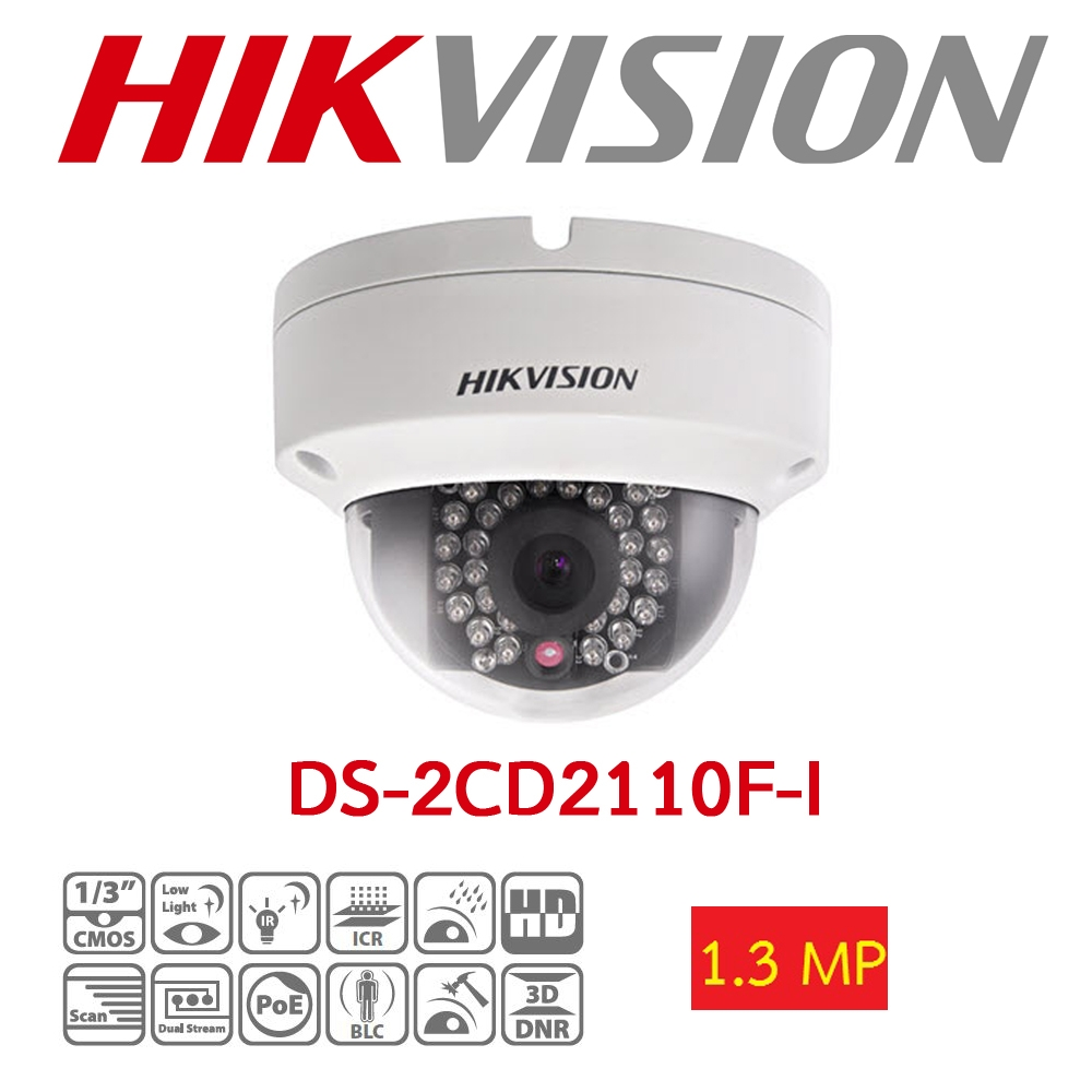 HAIKON DS-2CD2110F-I 1.3MP 4MM 30MT BLC, ROI, 3D DNR IP67 - IK10 POE/ONVIF METAL KASA IP DOME KAMERA