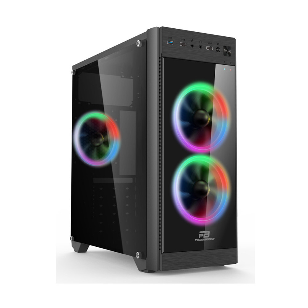 POWER BOOST VK-C013B 500W 3x12CM RGB FAN MIDI TOWER PENCERELİ 2xUSB2.0/1xUSB3.0 1xAUDIO SİYAH KASA