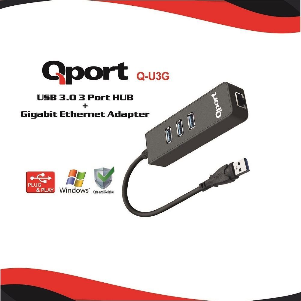 QPORT Q-U3G 10/100/1000 USB3.0 3PORT USB ÇOK+USB ETHERNET