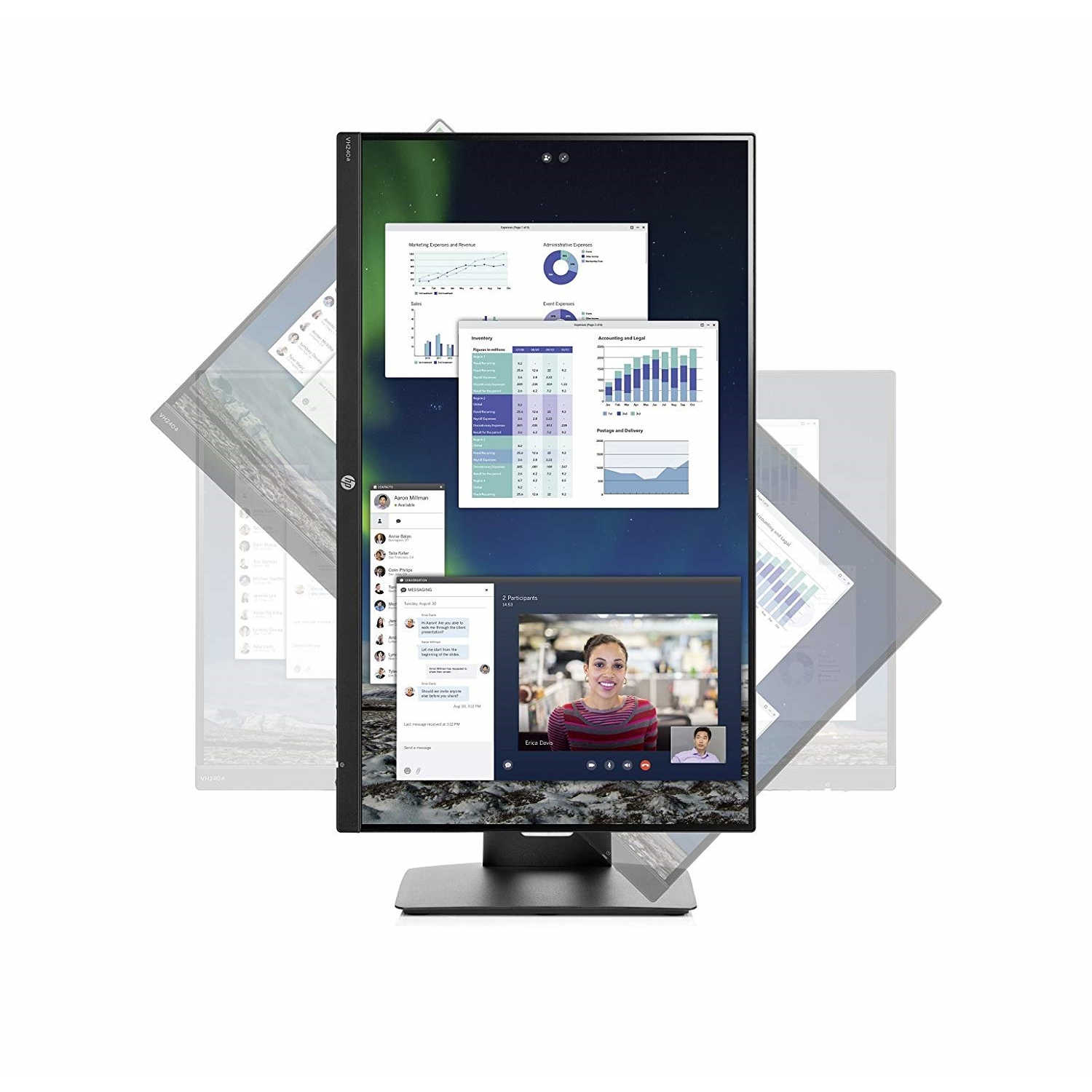 "HP VH240a 1KL30AA 23.8"" 5MS 1920x1080 VGA/HDMI VESA SPEAKER PIVOT SİYAH IPS LED MONITOR"