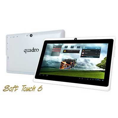 "QUADRO SOFT TOUCH 6 QUAD CORE 512MB DDR3 8GB WI-FI 7"" 1024X600 IPS PANEL 2xCAM BEYAZ ANDROID TABLET"