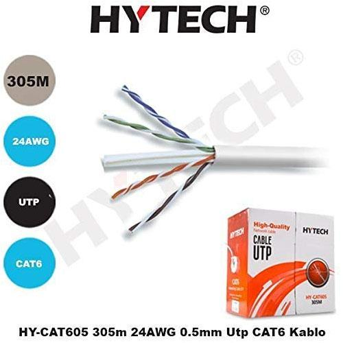 HYTECH HY-CAT605 305 MT UTP CAT6 NETWORK KABLO GRI 24 AWG 0.50MM